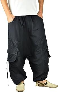 virblatt - Harem Pants for Men | 100% Cotton | Rave Pants Parachute Pants Aladdin Hippie Clothes