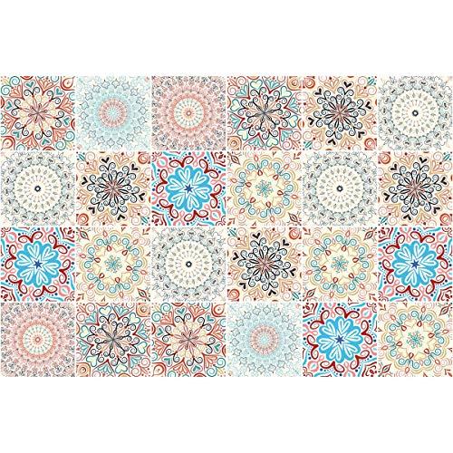 Ambiance-Live 24Aufkleber Fliesen   Sticker Selbstklebend Fliesen–Mosaik Fliesen Wandtattoo Badezimmer und Küche   Fliesen Kleber–Mandala–10x 10cm–24-teilig