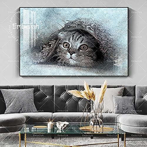LCZM 1 TLG konsttryck – bilder fleece kanvasbild – affisch – bild på duk – väggdekoration design väggbild – redo att hänga fin akvarell-husdjurskatt på sängkläder (Ps-ram)/60 x 90 cm