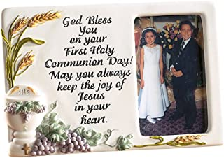 Bless You First Communion Chalice and Grapes Tabletop Keepsake Picture Frame, 3 1/2 x 5 Inch