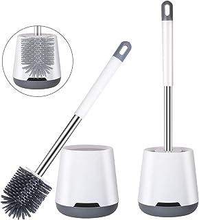 Brosse de Toilettes (2 Packs), Brosses WC en Silicone et Supports, avec Poignée en Acier Inoxydable, Balayette WC Antibact...