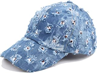 Blue Beach Outdoor Baseball Cap Fall Ladies Men's Vintage Washed Denim Doing Old Holes Grinding (Color : Blue, Size : 56-60CM)