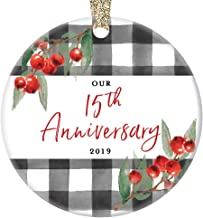 15th Anniversary Ornament Christmas 2019 Ceramic Collectible Fifteenth Year Married Couple Celebrate 15 Fifteen Years Husband Wife 3