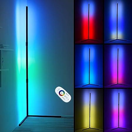 Ankishi 2800LM Lampadaire d'angle LED, Lampadaire LED Salon avec Télécommande, lumière d'atmosphère à Changement de Couleur Minimaliste pour Chambre à Coucher de Salon, Noir, RGB Colorful