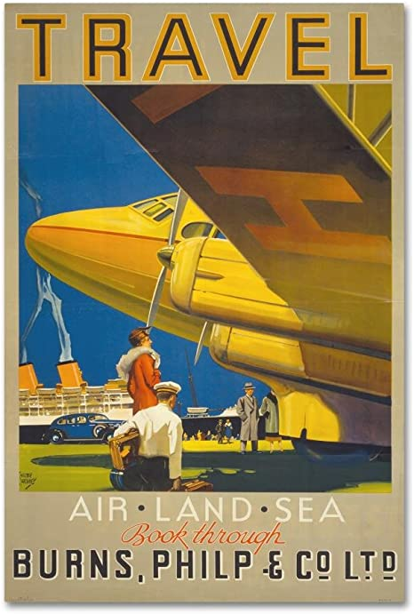 Vintage Airline Travel Reproduction Rolled CANVAS PRINT 24x32 in. AIR AFRIQUE