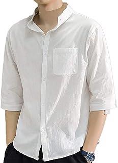 [Sposee] シャツ スキッパー 前開き 5分袖 襟なし 無地 シンプル 半袖 トップス L 〜 2XL メンズ