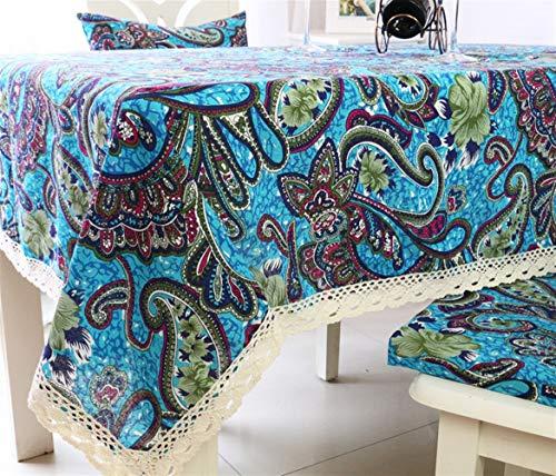 YU Rechteckige Tischdecke-Ethnische Art Tischdecke Stoff Frische blaue Baumwolle und Leinen Kaffeetischdecke Rechteckige Konferenztisch Tischdecke...