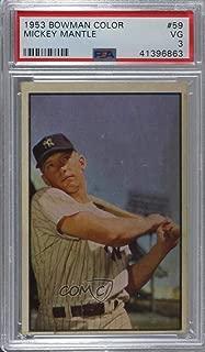 Mickey Mantle Graded PSA 3 VG (Baseball Card) 1953 Bowman Color - [Base] #59