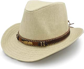 LiJuan Shen Panama Sun Hat Raffia Hat Summer Women's Jazz Straw Hat Leather Braided Metal Feather Decorated Beach Men's
