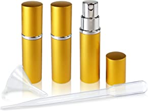 Refillable Perfume & Cologne Fine Mist Atomizers with Metallic Exterior & Glass Interior - 5ml Portable Travel Size - 3ml Squeeze Transfer Pipette Included (3 Pack, Gold)