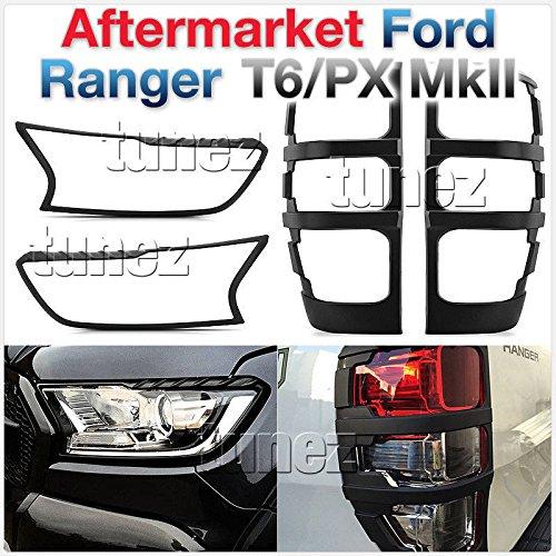 Preisvergleich Produktbild TUNEZ® FRM07MK2 Ranger PX Wildtrak T6 MK2 Abdeckung Schwarz Vorne Hinten Schwanz Lampe matt