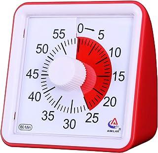 AIMILAR Temporizador visual de 60 minutos, herramienta de gestión de tiempo silenciosa, para aula o reuniones, reloj de cuenta atrás para niños y adultos rosso