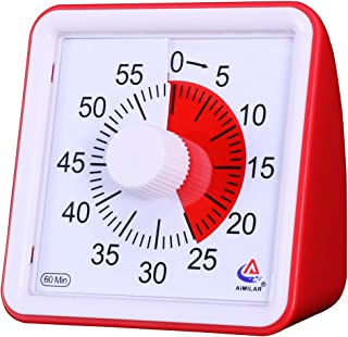 AIMILAR 60 Minute Visual Timer - Silent Timer Time Management Tool for Classroom or Meeting Countdown Clock for Kids and Adults (Red)