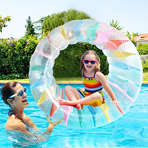 ALLADINBOX Inflatable Roller Float, 40' Colorful Water Wheel, Swimming Pool Rainbow Roller Toy for Kids and Adults Outdoors