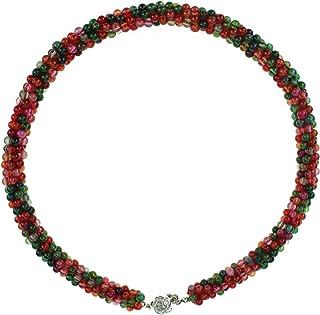 天然玛瑙电气石项链扭爆米花领水晶颈圈电源项链密丝彩色手工制作