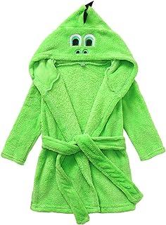 KAIXLIONLY Boys Girls Coral Fleece Bathrobe Unisex Kids Robe Cartoon Animal Pajamas Sleepwear Plush Robe