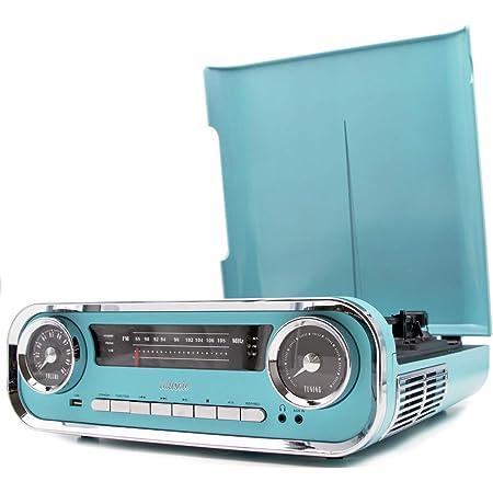 Lauson Plattenspieler Retro Plattenspieler Mit Lautsprecher Bluetooth Musikanlage Mit Vinyl Player Stereoanlage Vintage Radio Usb Schallplatten Digitalisieren Blau Heimkino Tv Video