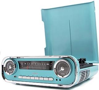 LAUSON Plattenspieler Retro   Plattenspieler mit Lautsprecher Bluetooth   Musikanlage mit Vinyl Player   Stereoanlage Vintage   Radio USB   Schallplatten Digitalisieren, Blau
