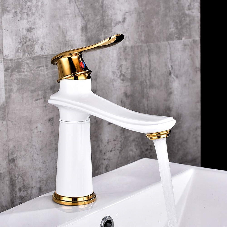 YHSGY Waschtischarmaturen Becken Wasserhahn Wasserhahn Bad Wasserhahn Messing WeiGold Schwarz Finish Einhand Hei Kaltes Wasser Waschbecken Mischbatterie