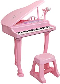 Honor-Y Kids Toy Grand Piano With 37-Key Keyboard Stool and