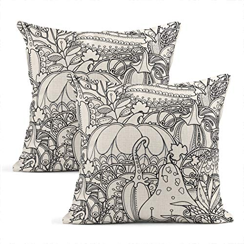 Heyqqo Set of 2 Cushion Covers Linen Seamless Garden Doodle Style Autumn Harvest Thanksgiving Party Festive Pillowcases Square Soft Home Decor Pillow Cases Sofa Bedroom 20x20 Inch