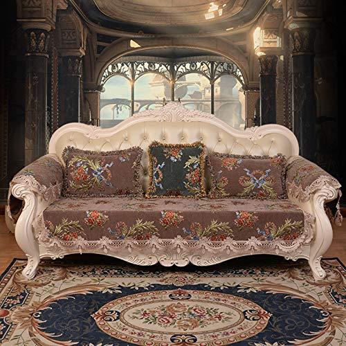 QSCV La Funda para Sofa Vintage Encaje Fundas para Sofa,Premium Bordado Protector De Muebles con Falda Él,Universal Funda Sofa Ajustables para Salon-Marrón 70x160cm(28x62inch) 1pcs