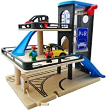 Actcute Toddler Wood Toys Vehicle Blocks Parking Lot Set Rail Transit Toy Lift Wooden Track Path Disassemble Toy for Boy Birthday Gift