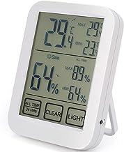 Cikuso TermóMetro HigróMetro Digital Pantalla Grande y Luz Nocturna Medidor Preciso de Humedad y Temperatura para Oficina en Casa