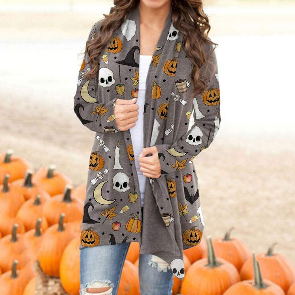 UOCUFY Halloween Cardigan for Women, Women Funny Cute Pumpkin Cat Ghost Graphic Open Front Tops Blouse Lightweight Coat