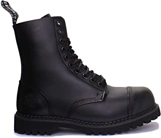 Grinders Stag Cs Unisex 10 Eyelet Lace Steel Toe Boot In Black