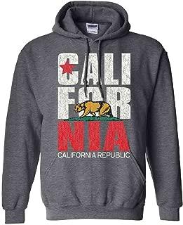 California Flag Vintage Retro Text Asst Colors Hoodie