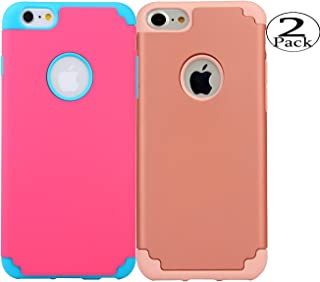 iPhone 6/6s Plus Case,[2 Pack] iBarbe Hybrid Heavy Duty Soft Rubber PC Shockproof Protective cover Case with Dual Layer Scratch Resistant Bumper for iPhone 6 6s Plus (5.5 inch) phone-Red+Rosegold
