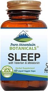 Natural Sleep Aid with Organic Valerian, Chamomile, Passion Flower, Skullcap, Melatonin, Hops & More! - 60 Vegetarian Caps...