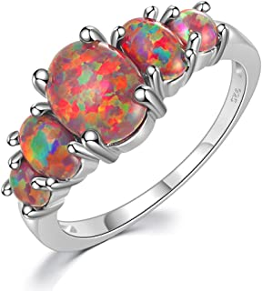 CiNily Sterling Silver Plated Created White/Blue/Orange Fire Opal Ring for Wome Opal Jewelry Gift Gemstone Ring Size 5-12