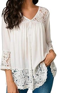 Camisa De Manga Larga Mujer Elegante Camisetas Splice Encaje Cuello Redondo Vintage Camisas Transparentes Moda Joven Ropa Tops Blusas Color S/ólido