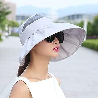 ZRL77y Womens Bucket Hat Beach Cap Folding Roll Up Wide Brim Sun Visor Cap, UPF50+ Packable (Color : Gray, Size : 54-60cm)