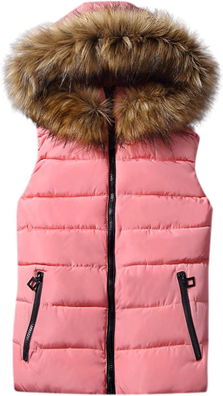 Aritone Clearance!! Coat Jacket Women's Short Outerwear Cotton-Padded Jackets Pocket Faux Hooded Vest Coats