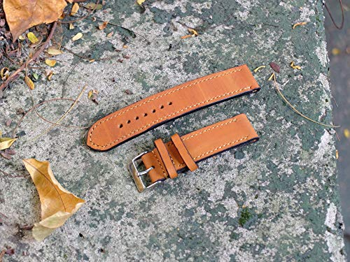 LOLHandmade Excellent Topgrain Handmade Leather Watch Band | 18 mm Size Tan | Bonus Stainless Steel with It Removal Tool