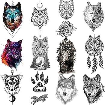 COKTAK 12Pieces/Lot Forest Realistic Wolf Temporary Tattoos For Men Body Art Women Arm Tattoo Stickers Kids Tribal Coyote Design Fake Tattoo Sheets Waterproof Geometric Black Tatoos