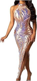 Elegante Vestido De Dos Piezas, Vestido Bordado De Perlas De Halter De Moda Sexy Sin Espalda para Mujer Vestido Sexy para ...