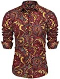 COOFANDY Men's Floral Print Button Down Casual Long Sleeve Hawaiian Retro Flower Shirt(Red,XL)