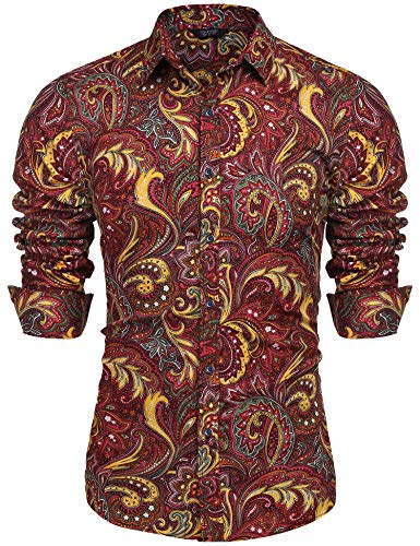 COOFANDY Men's Floral Print Button Down Casual Long Sleeve Hawaiian Retro Flower Shirt(Red,L)
