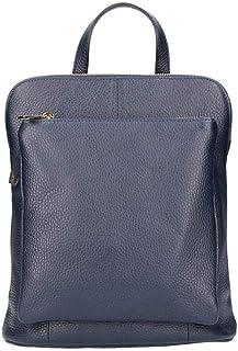 italyshop24_com OBC Made in Italy Damen echt Leder Rucksack Daypack Lederrucksack Tasche Schultertasche Ledertasche Handgepäck Nappaleder