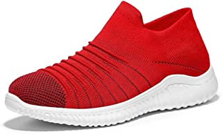 Shangruiqi Fitness Traning Sneakers for Men Running Shoes Slip on Breathable Knit Mesh Fabric Lightweight Shockproof Hollow Outsole Anti-Wear (Color : Red, Size : 8 UK)