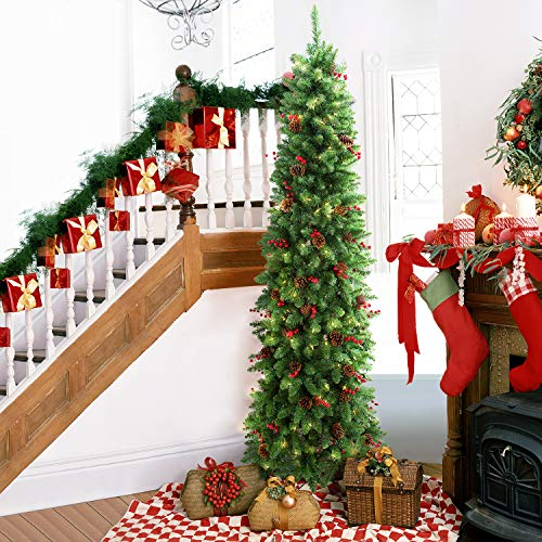 LIFEFAIR 7.5ft Prelit Slim Christmas Tree, Decorated with 350 Clear Lights and Realistic 900 Thicken Tips