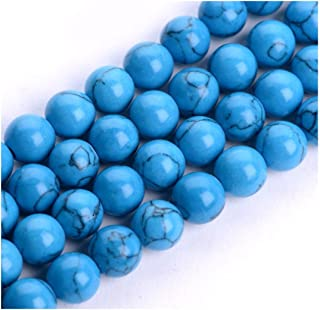 Natural Turquoise Blue Howlite Gemstone 8mm Loose Round Gems Stone Beads 15 inch for Jewelry Craft Making GS18-8