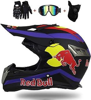 Fullface Helm,Motorradhelm Fahrradhelm ABS DOT ECE-Zertifizierung Mehrere EntlüFtungsöFfnungen Schnellverschluss Herausnehmbares Futter Schutzbrillenmaskenhandschuhe senden Red Bull M=57~58CM, A