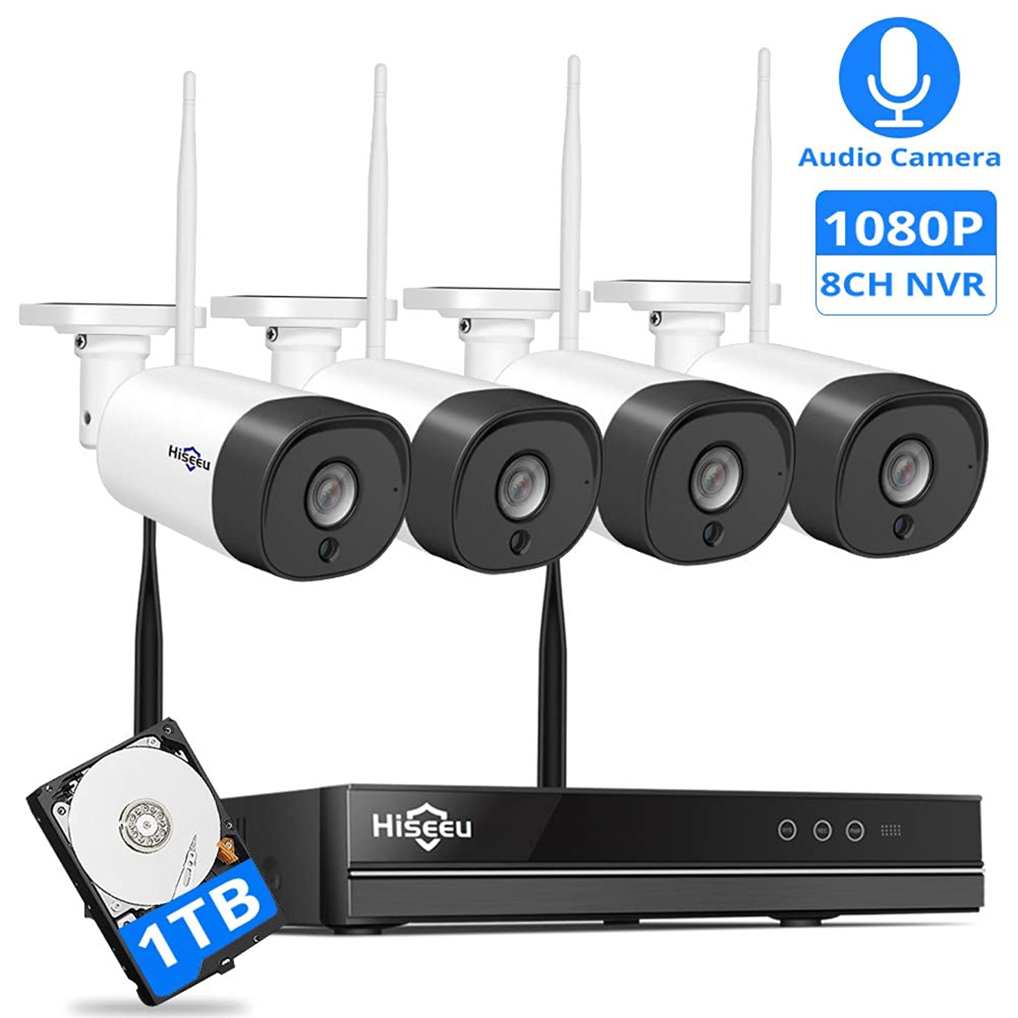 [Expandable 8CH] Wireless Security Camera System with Audio,Hiseeu 8CH 1080P NVR 4Pcs 1080P 2MP Night Vision IP Surveillance Cameras Home Outdoor Plug&Play,Easy Remote View,1TB HDD Preinstalled