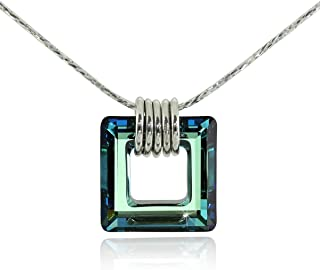 Stera Jewelry Sterling Silver Necklace Made with Swarovski Bermuda Blue or AB Square Crystal Pendant