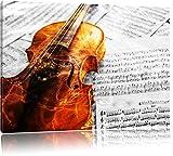 wunderschöne Geige auf Notenblättern schwarz/weiß Format: 60x40 auf Leinwand, XXL riesige Bilder fertig gerahmt mit Keilrahmen, Kunstdruck auf Wandbild mit Rahmen, günstiger als Gemälde...